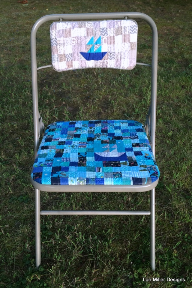 Lori Miller Designs finished upcycled quilty folding chair