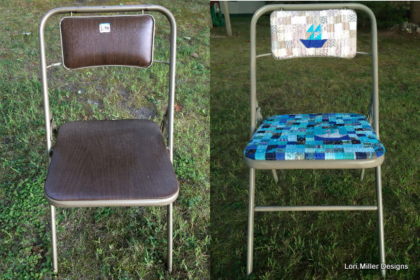 Lori Miller Designs upcycled quilty folding chair